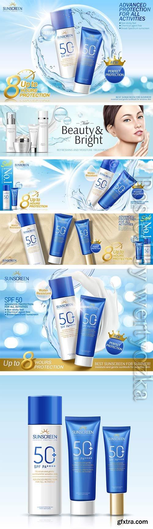 Elegant cosmetic skin care vector template