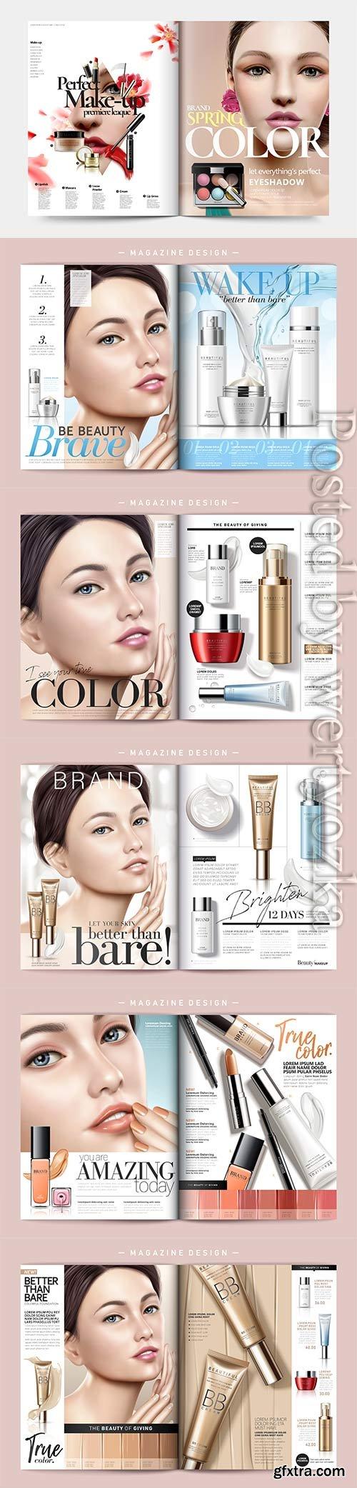 Skin care magazine vector template
