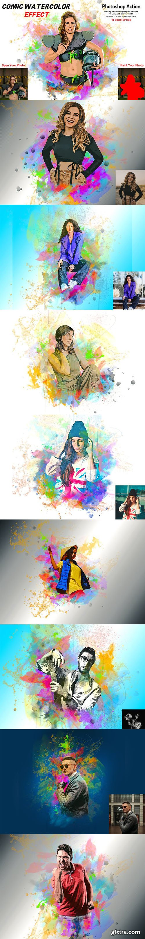 Comic Watercolor Effect Action for Photoshop + Brushes