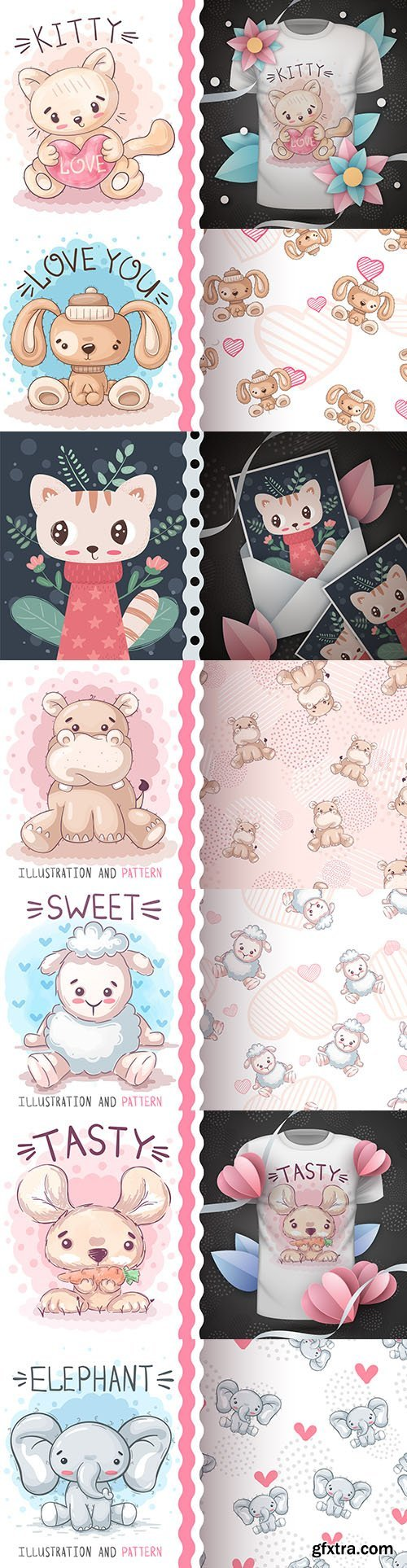 Cute cartoon animals and seamless background 20