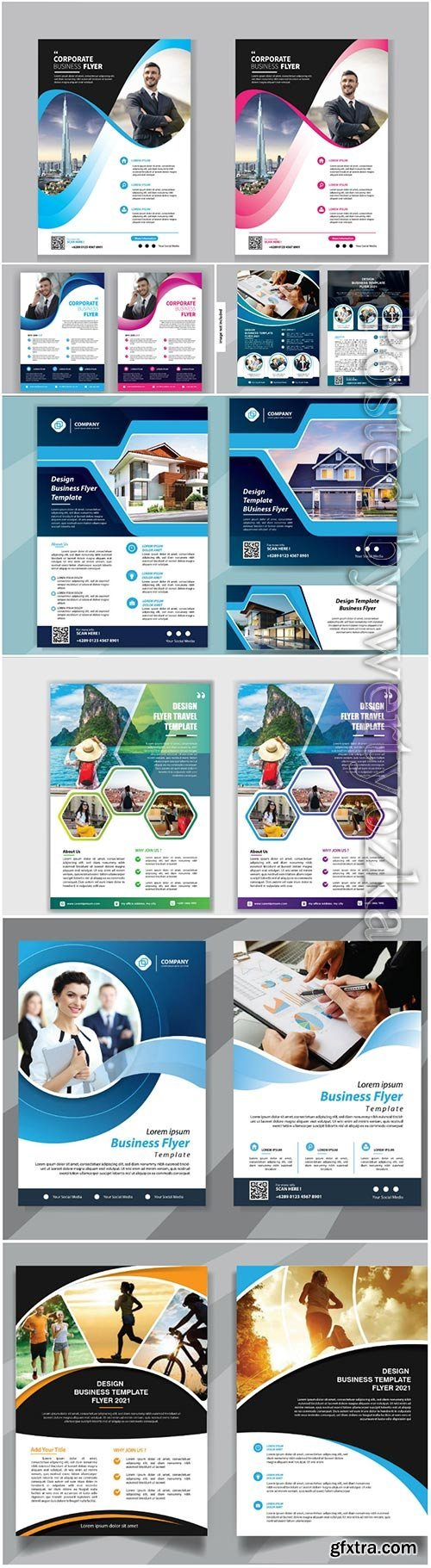 Flyer template vector design for cover layout annual report