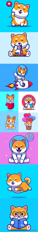 Cute shiba inu dog cartoon illustration set