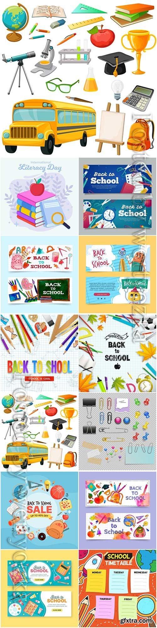 School set and stationery vector illustration