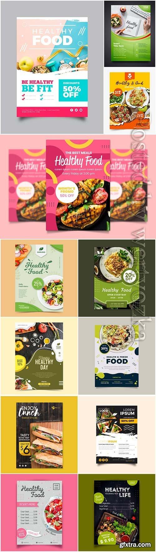 Healthy food flyers in vector