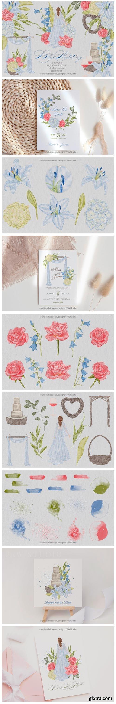Vintage Blue Wedding Clipart Flowers Bri 14272395