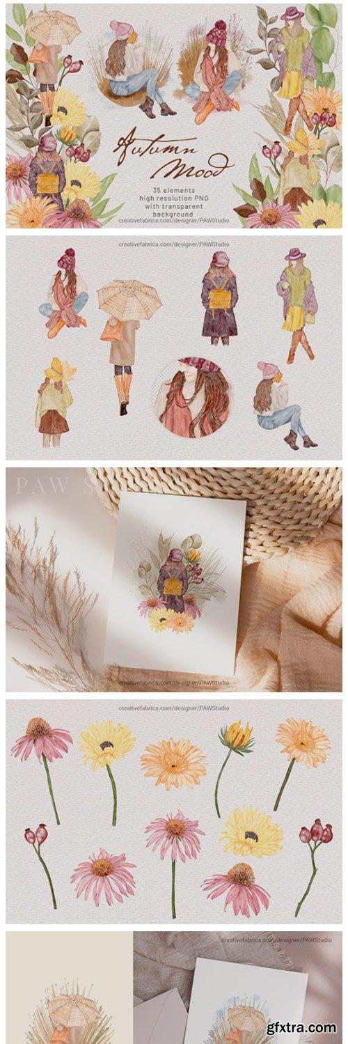 Autumn Mood Watercolor Clipart Boho Girl 14981101