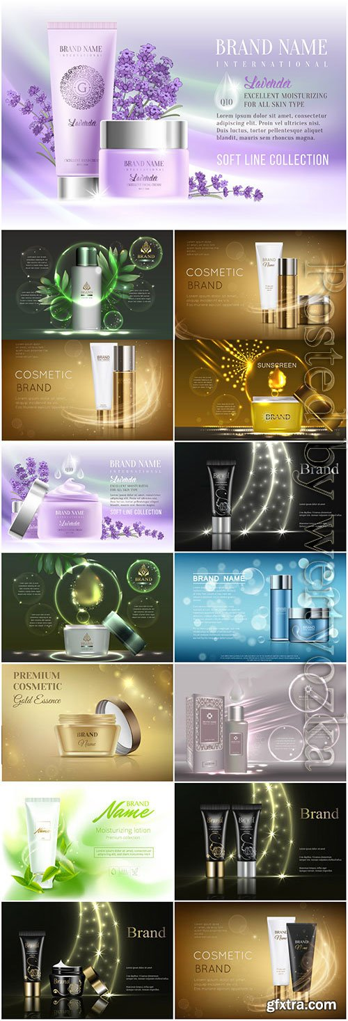 Set of cosmetics posters in vector