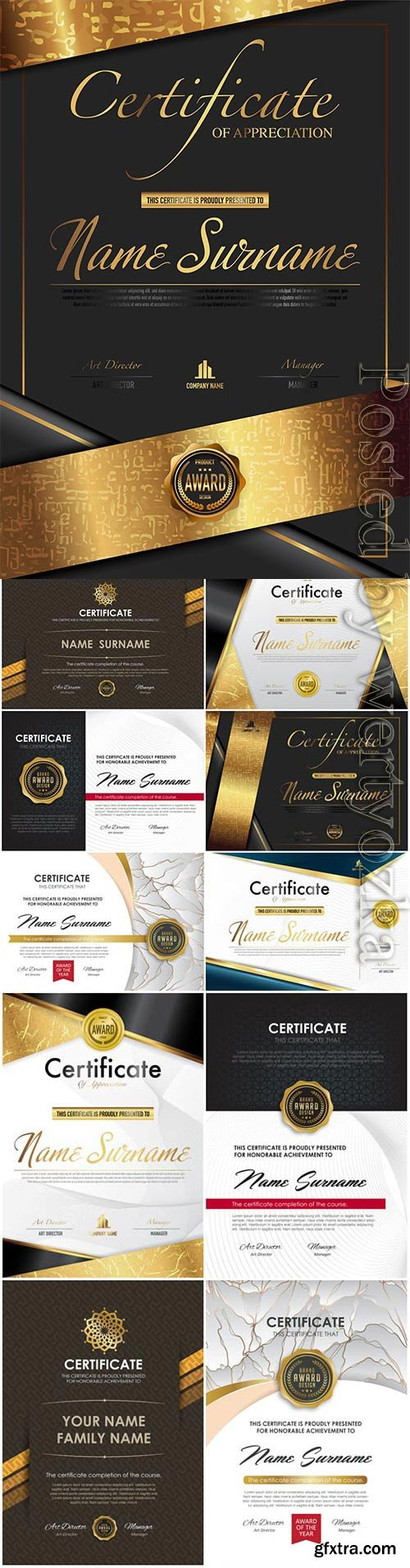 Luxury diplomas and certificates in vector