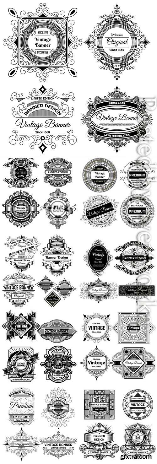 Retro labels on white background in vector