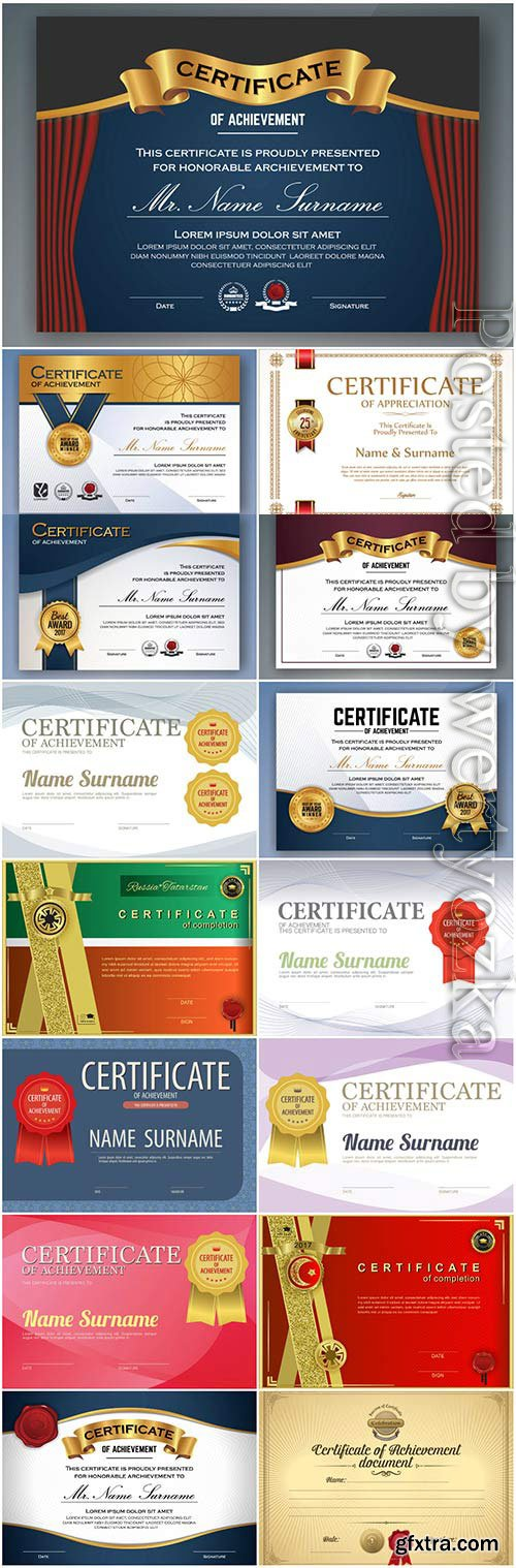 Horizontal colored diplomas and certificates in vector