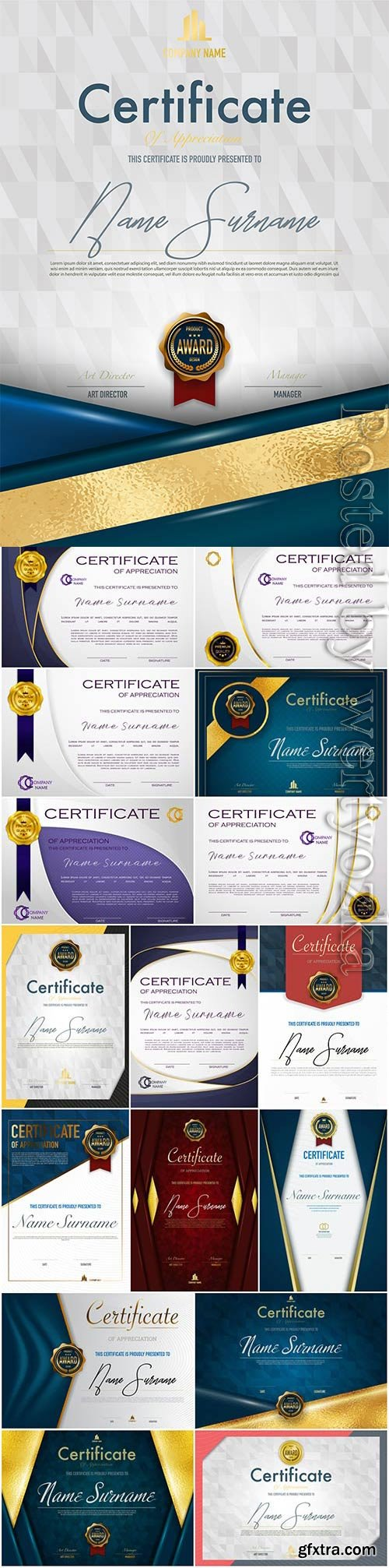 Elegant diplomas and certificates set in vector