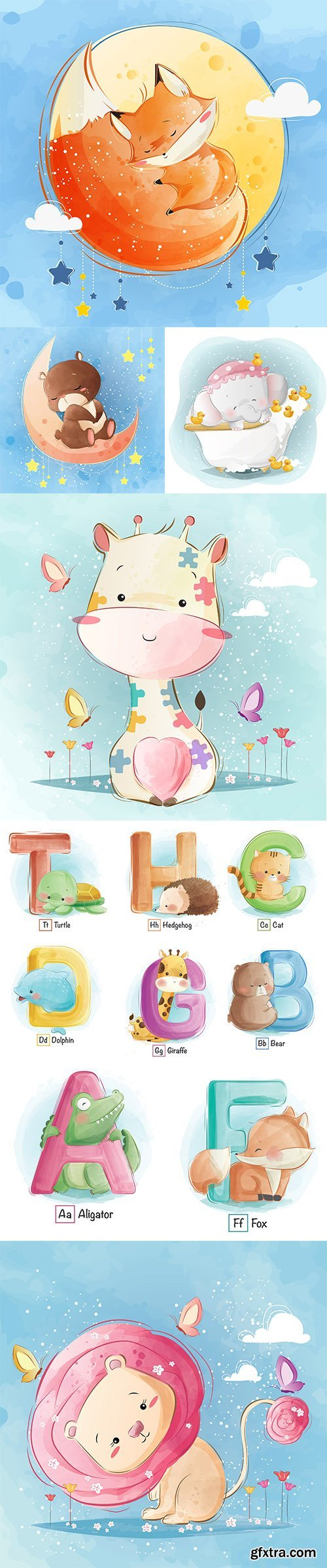 Hand Draw Lovely Cute Watercolor Animal Pack 5