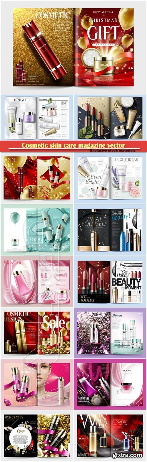 Cosmetic magazine vector template, skin care product, 3d illustration