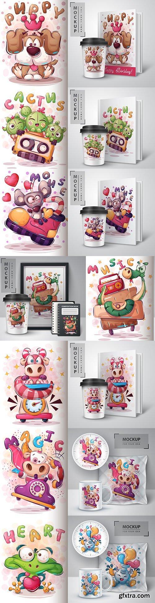 Funny illustration and merchandising mockup print t-shirt 8