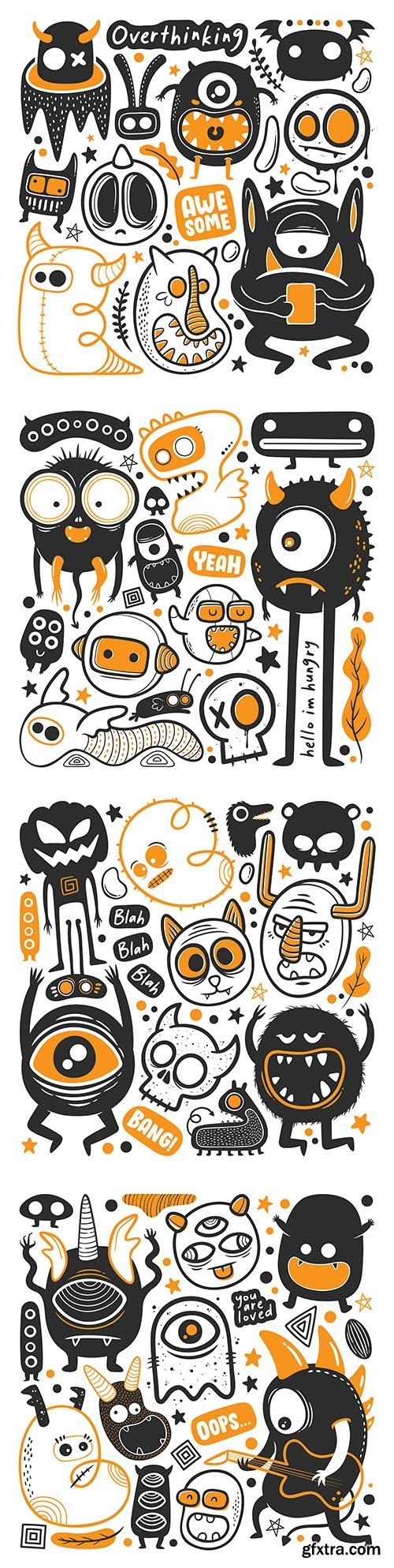 Funny monster painted caracula vector illustration