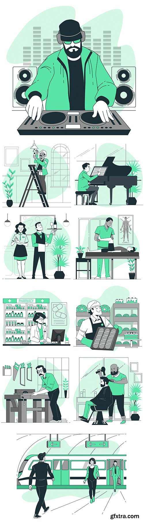 People in different situations and lifestyle flat design 3