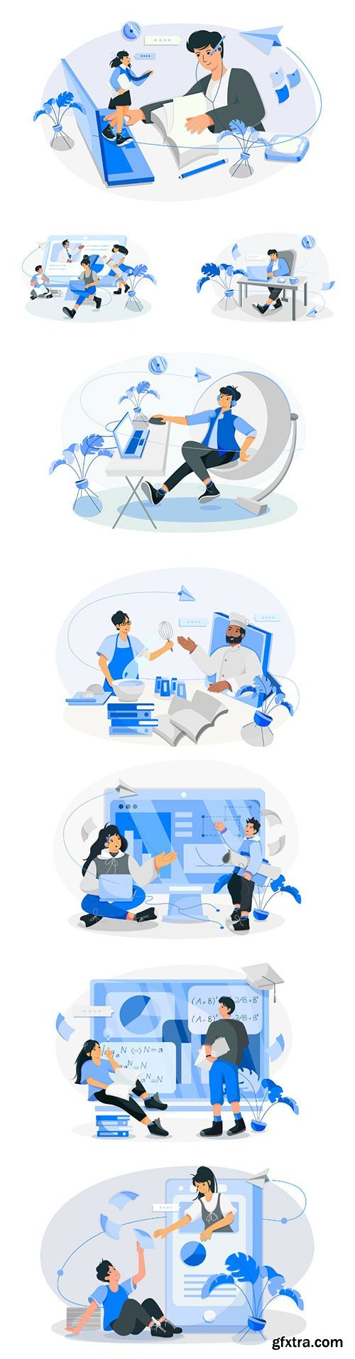 Online course with people vector illustrations
