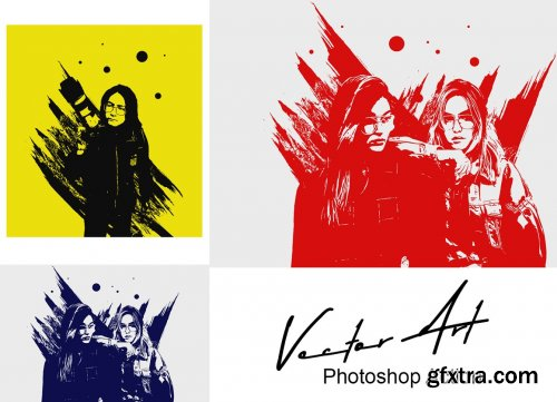 CreativeMarket - Vector Art Photoshop Action 5295274