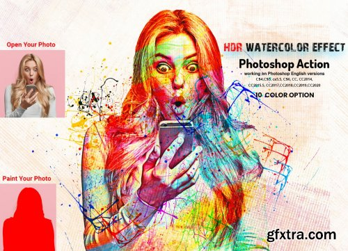 CreativeMarket - HDR Watercolor Effect PS Action 6032596