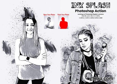CreativeMarket - Ink Splash Photoshop Action 5783283