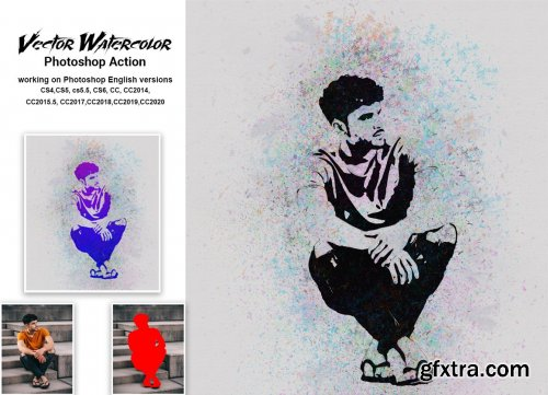 CreativeMarket - Vector Watercolor Photoshop Action 5331573