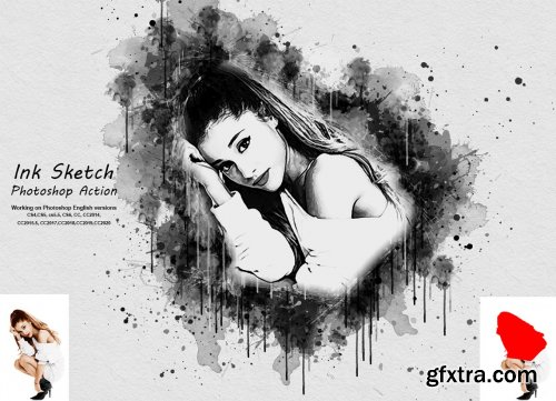 CreativeMarket - Ink Sketch Photoshop Action 5355228