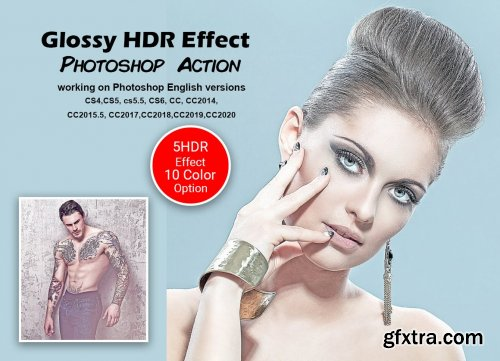 CreativeMarket - Glossy HDR Effect Photoshop Action 5556535