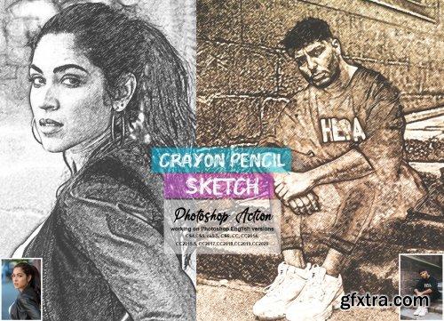CreativeMarket - Crayon Pencil Sketch PS Action 5660336