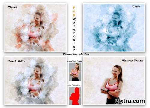 CreativeMarket - Pop Watercolor Photoshop Action 5561304