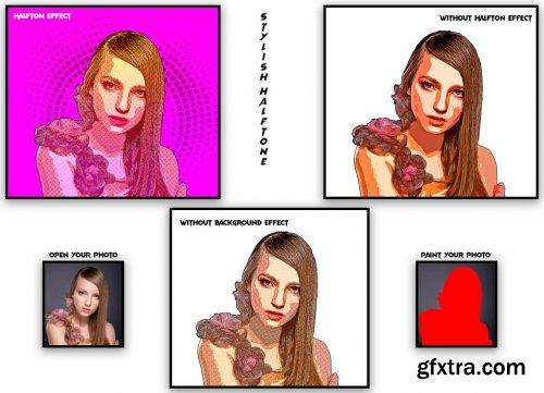 CreativeMarket - Stylish Halftone Photoshop Action 5587895