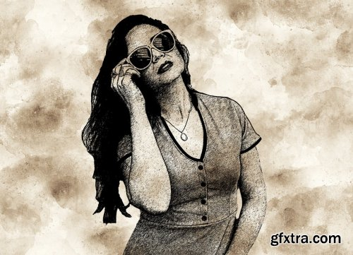 CreativeMarket - Ink Drawing Photoshop Action 5658652