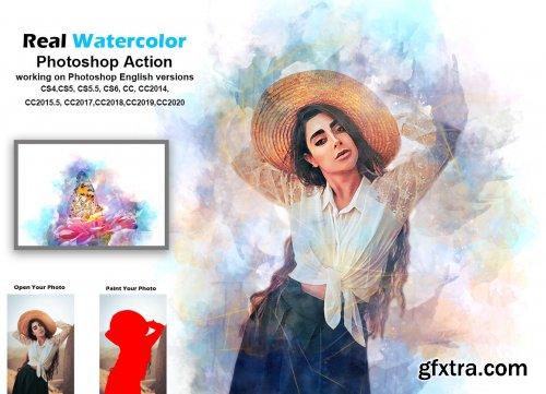 CreativeMarket - Real Watercolor Photoshop Action 5548660