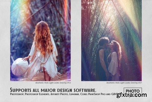 CreativeMarket - Aesthetic Holo Light Leaks Overlays 6192718