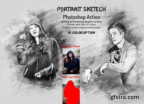CreativeMarket - Portrait Sketch Photoshop Action 6176158