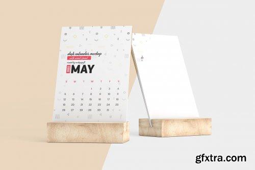 CreativeMarket - Desk Calendar With Wood Stand Mockup 5871788