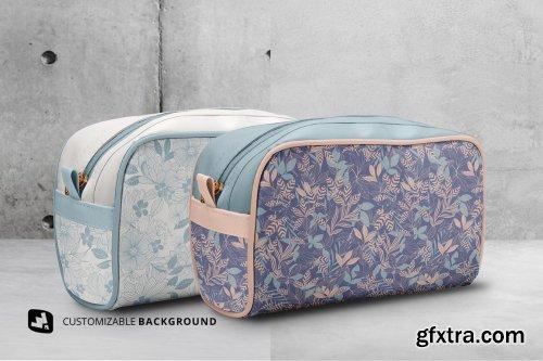 CreativeMarket - Front View Travel Makeup Bag Mockup 5331147