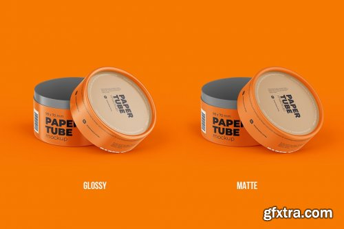 CreativeMarket - Opened Paper Tube Mockup 99x70mm 5858043