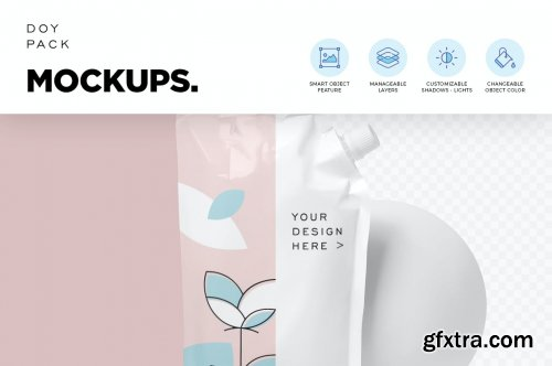 Doy Pack with Side Spout Mockups