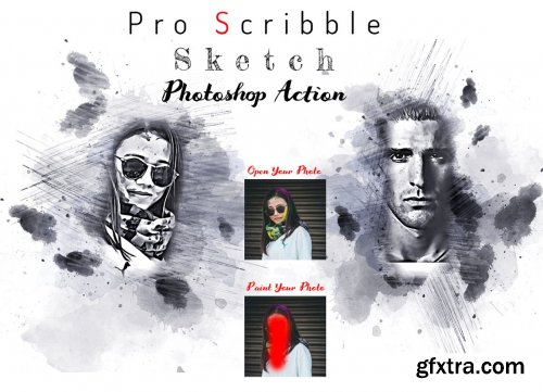 CreativeMarket - Pro Scribble Sketch PS Action 6314308
