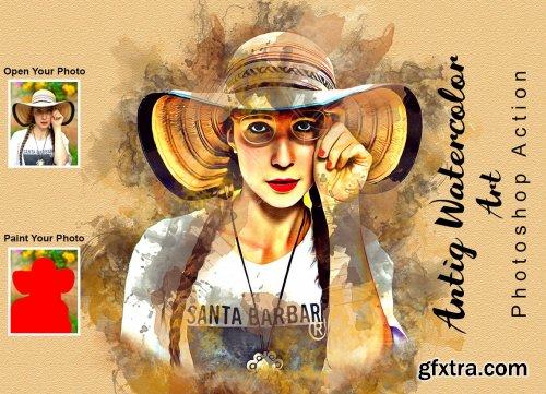 CreativeMarket - Antiq Watercolor Art PS Action 6305902