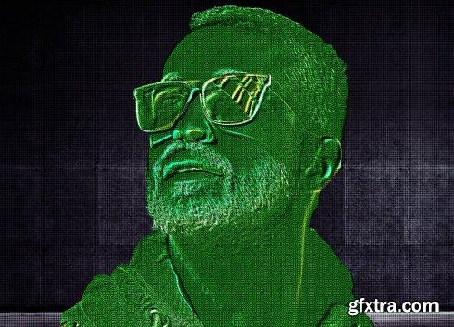 CreativeMarket - Laser Scan Photoshop Action 6309008