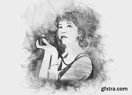 CreativeMarket - Art Sketch Photoshop Action 6279437