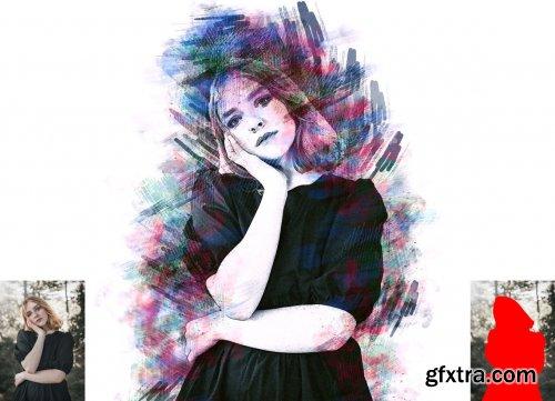 CreativeMarket - Watercolor Pencil Effect PS Action 6298931