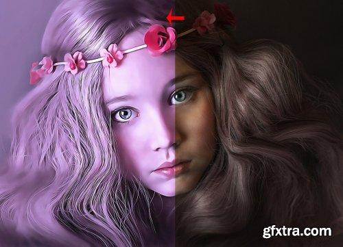 CreativeMarket - Real Oil Portrait PS Action V -4 6247792