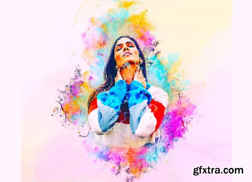 CreativeMarket - Watercolor Hand Paint PS Action 6270235