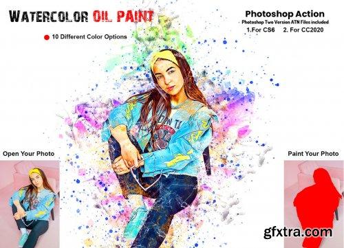 CreativeMarket - Watercolor Oil Paint PS Action 6258660