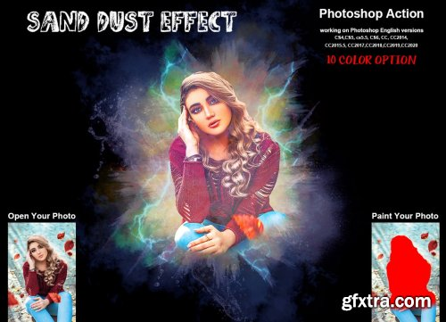 CreativeMarket - Sand Dust Effect Photoshop Action 6260070