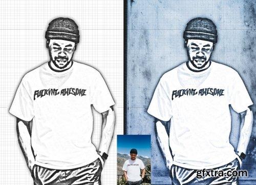 CreativeMarket - Canvas Sketch Portrait PS Action 5970167