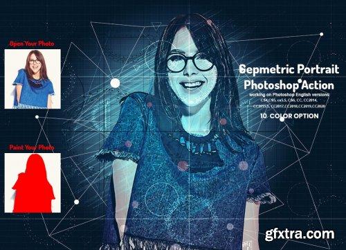 CreativeMarket - Geometric Portrait Photoshop Action 5942219