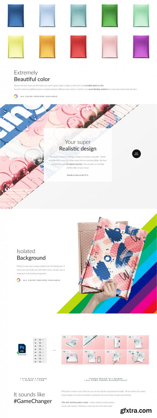 CreativeMarket - Bubble Mailer Envelope Mock-ups Set 6234407